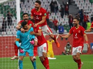 Ahly's players celebrate their win in the FIFA Club World Cup 3rd place football match between Egypt's Al-Ahly vs Brazil's Palmeiras at the Education City Stadium in the Qatari city of Ar-Rayyan on February 11, 2021 (Photo: Karim JAAFAR / AFP)