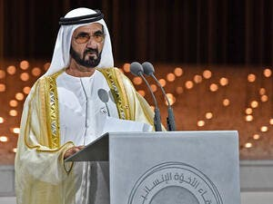 FILE: Dubai ruler Sheikh Mohammed bin Rashid Al-Maktoum delivers a speech during the Founders Memorial event in Abu Dhabi on 4 February 2019. Picture: AFP
