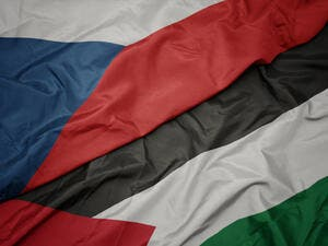 Flags of Palestine and the Czech Republic.