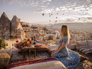 A woman on the Cappadocia roof