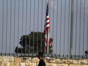 A picture taken on Feb. 24, 2018, shows the U.S. flag flying over the U.S. consulate building complex in Jerusalem, which is considered one of the options to host the new U.S. embassy headquarters after its relocation from Tel Aviv. The United States will move its embassy from Tel Aviv to Jerusalem in May 2018 to coincide with Israel's 70th Independence Day according to U.S. officials.
