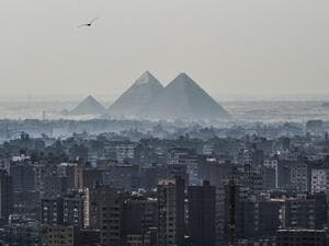 A picture taken on Feb. 28, 2018 shows a view of the Pyramids of Giza on the southwestern outskirts of the Egyptian capital Cairo. 