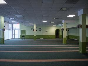 The prayer room of the Islamic Cultural Center of Quebec is pictured in Quebec City on January 12, 2018, where at 7:55 p.m. Sunday, January 29, 2017, with a rifle in hand, a young man entered and opened fire on 40 men and four children. Six people were killed and aother five injured. 