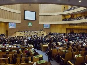 A picture shows a general view during the opening of the Ordinary Session of the Assembly of Heads of State and Government during the 30th annual African Union summit in Addis Ababa on Jan. 28, 2018 (SIMON MAINA / AFP)