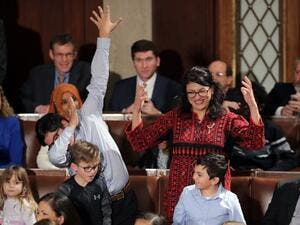 Rashida Tlaib along with her kids during the first session of the 116th Congress at the U.S. Capitol in Washington