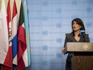 U.S. ambassador to the United Nations Nikki Haley speaks during a brief press availability at United Nations headquarters, Jan. 2, 2018 in New York City. She discussed protests in Iran and the North Korea nuclear threat (Drew Angerer/Getty Images/AFP)