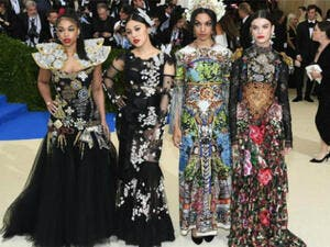 "Sonia Ben Ammar (far right) attends the ""Rei Kawakubo/Comme des Garcons: Art Of The In-Between"" Costume Institute Gala at Metropolitan Museum of Art on May 1, 2017 in New York City. (Source: AFP)"