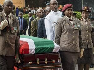 Members of the South African military carry the coffin of long-time activist Winnie Mandela who was laid to rest in a state funeral (AFP/File Photo)