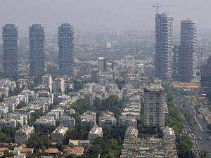 A picture shows a general view of the skyline of the Israeli city of Tel Aviv (AFP/File Photo)