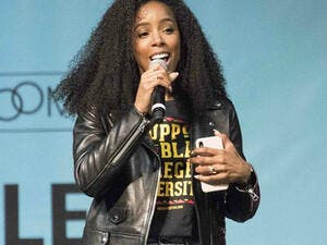 Aplomb: Kelly Rowland took the stage with aplomb at the College Signing Day in Philadelphia on Wednesday (Source: Ricky Fitchett - ZUMA Wire - REX - Shutterstock)