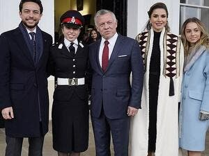 Jordan's King Abdullah (C), Queen Rania, Crown Prince Hussein (L) and Princess Iman (R) attend the Commissioning Parade of Her Royal Highness Princess Salma (2nd L) at the Royal Military Academy Sandhurstat, 35 miles west of London, on November 24 (AFP)