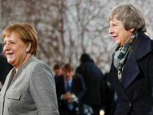 Prime Minister Theresa May  arriving to meet Chancellor Angela Merkel (Twitter)