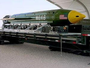 An undated image shows the GBU-43/B Massive Ordnance Air Blast (MOAB) bomb. (AFP/US Air Force)