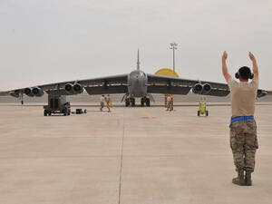 A US Air Force B-52 bomber arrives at Al Udeid Air Base, Qatar. (AFP/File)