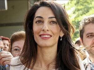 Amal Clooney, 38, said she is 'perplexed' that Trump's controversial comments have not slowed him down within the Republican party. (File photo)