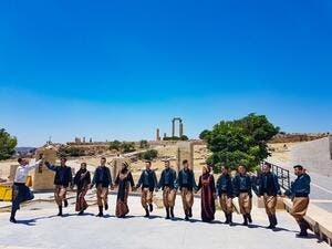 Folklore music and Dabke dancing at the Citadel in Amman celebrating International Music Day (Twitter)