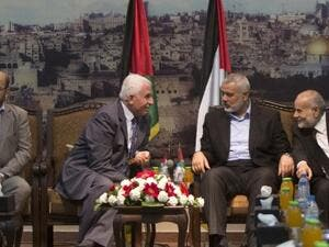 Hamas and Fatah officials discuss reconciliation in Gaza. (AFP/file)