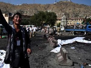 An Afghan protester near the scene of the suicide attack that targeted minority Shiite Hazaras. (AFP/Wakil Kohsar)