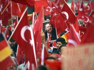 Turkey summoned a senior German diplomat, a day after a rally of tens of thousands of Erdogan supporters in Cologne in opposition to the coup (AFP/Henning Kaiser)
