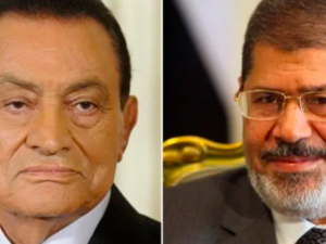 Mubarak (L) testifies in trial of Mohammad Morsi (Twitter)