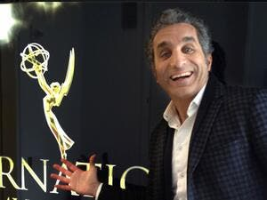 Bassem Youssef announcing his big moment at the Emmy's back in May. (Facebook)