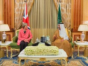 Theresa May, pictured left with Saudi Arabia's King Salman, during her two-day trip to Riyadh on April 4 2017. (AFP)