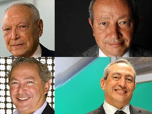 Clockwise from left, Onsi Sawiris and his sons Naguib, Nassef and Samih. (AFP/composite)