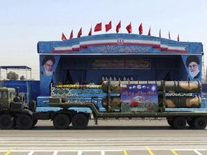 S300 surface-to-air missile system on display at an Iranian military parade. (AFP/Chavosh Homavandi)