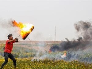 Palestinian Trying to Launch Incendiary Kites (Twitter)