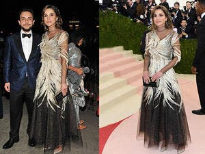 Queen Rania's feather and sequinned dress was made by Valentino. (AFP/D Dipasupil)