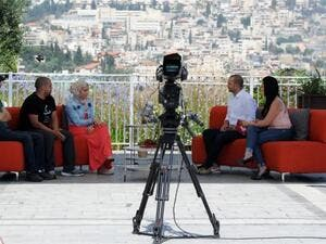 Israeli Arab actor Doraid Liddawi and Afaf Sheni are the hosts of P48's morning show. (Photo courtesy of Haaretz)