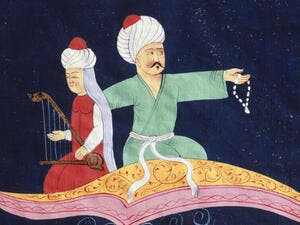 "Detail from ""Flying Over Istanbul and the Galata Tower on the Magic Carpet from the 1001 Nights, Turkish miniature, 19th C."" (Rex)"