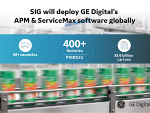 GE Digital's Predix Asset Performance Management and Predix ServiceMax industrial apps to optimize SIG operations worldwide.