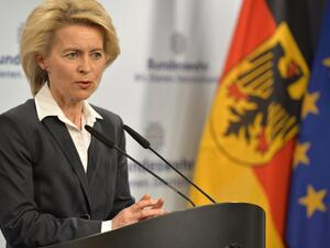 German Defense Minister Ursula von der Leyen recently submitted a list of 18 major military procurement projects to the parliament's budget committee. (AFP/ File Photo)