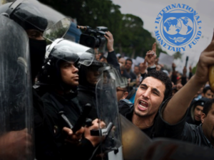 The IMF's logo on top of civil unrest (Rami Khoury/Al Bawaba)