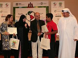 The Awarding Ceremony commended the talented young artists and exhibited the 36 winning entries with strong environmental messages, creating a bright and colourful scene.