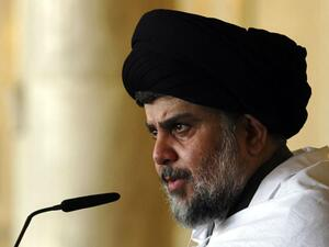 Iraqi Shia cleric Moqtada al-Sadr delivers a speech to his supporters. (AFP/ File Photo)