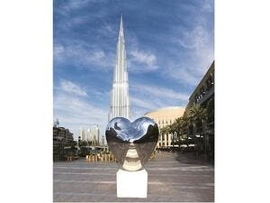 'LOVE ME' Sculpture by Richard Hudson at The Dubai Mall.