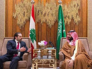 Crown Prince Mohammed bin Salman meeting with Lebanese premier Saad Hariri in Riyadh, earlier this year (AFP)