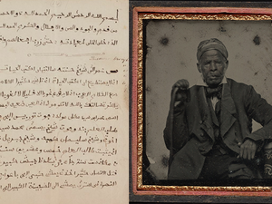 ((Left)One of Omar ibn Said's memoir acquired by the Library of Congress/(Right) Formal portrait of Omar ibn Said (http://beinecke.library.yale.edu/))