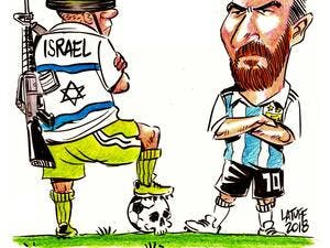 A cartoon was drawn by Carlos Lattouf, the Brazilian cartoonist on Argentina and Israel's match cancellation. (LatuffCartoons/Twitter)