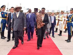 President of the Republic of Uganda arrives in Beijing for the Forum on China-Africa Cooperation (FOCAC) (Twitter)
