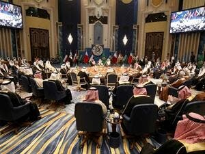 A general view of the GCC leaders attending the Gulf Cooperation Council (GCC) summit at Bayan palace in Kuwait City on December 5, 2017. (AFP)