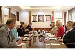 Dutch Minister for Foreign Trade and Development Cooperation Sigrid Kaag and her delegation meet with officials in Amman on Sunday. (Jordan Times)