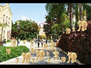 This image depicts the American University of Beirut's campus crawling with the cat Meowth Pokémon. (Twitter/aubmemes).