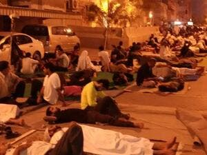 This picture tweeted by Bahrain's leading human rights activist Nabeel Rajab shows protesters spending the night outside Sheikh Isa Qassim's home in Diraz, Bahrain on June 20, 2016. (Twitter)