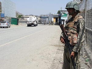 Pakistani soldiers patrol at the Torkham crossing between Pakistan and Afghanistan. (AFP/File)
