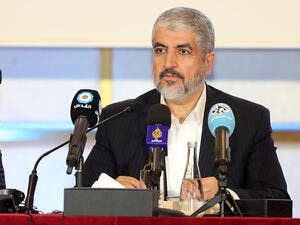 The chief of Hamas' political bureau speaks during the militant group's conference in Qatar, May 1 2017. (AFP/Karim Jafaar)