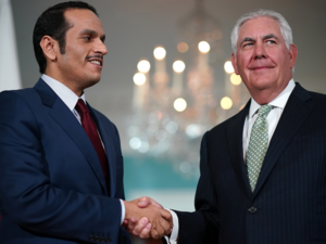 U.S. Secretary of State Rex Tillerson shakes hands with Qatari Foreign Minister Sheikh Mohammed Bin Abdulrahman Al Thani prior to a scheduled meeting at the State Department | AFP