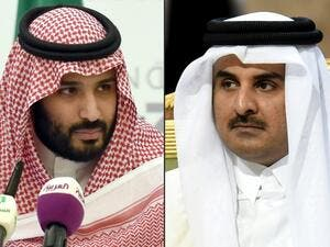 The Saudi Crown Prince and Qatari Emir who spoke on the phone in a breakthrough of the Gulf diplomatic crisis, September 8 2017 (Fayez Nureldine/AFP)